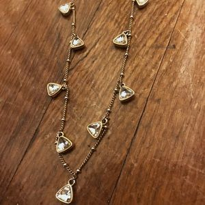 Ann Taylor Long Gold & Crystal Necklace